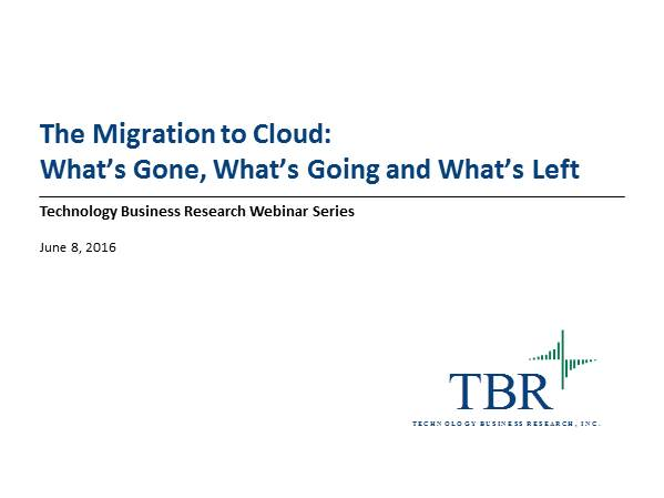 The Migration to Cloud: What's Gone, What's Going and What's Left
