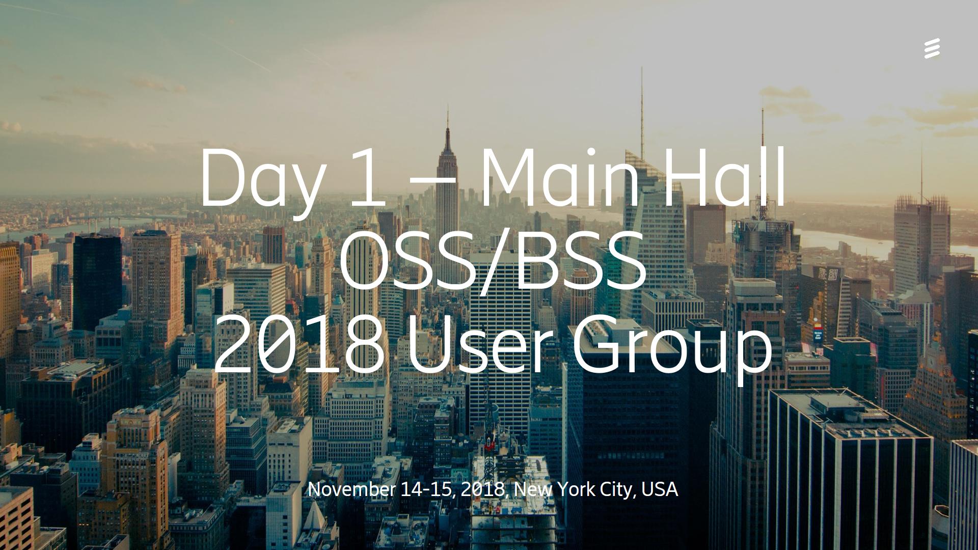 Day 1 Main Hall - OSS/BSS User Group 2018