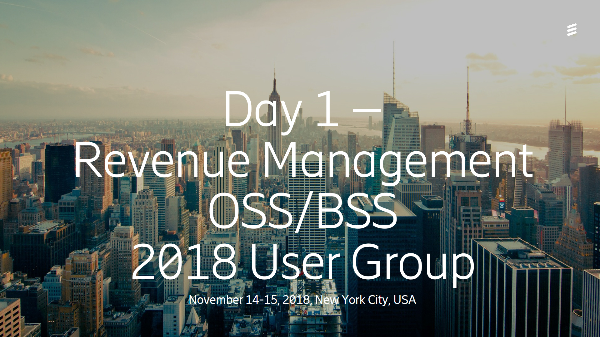 Day 1 Revenue Management - OSS/BSS User Group 2018