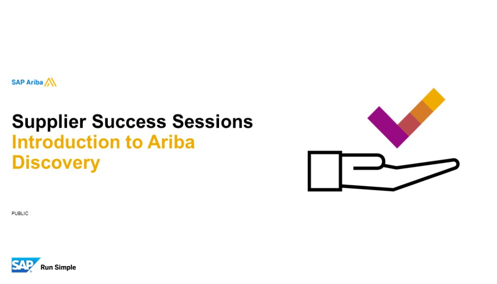 *SAP Ariba: Introduction to Ariba Discovery 18/09/2019*