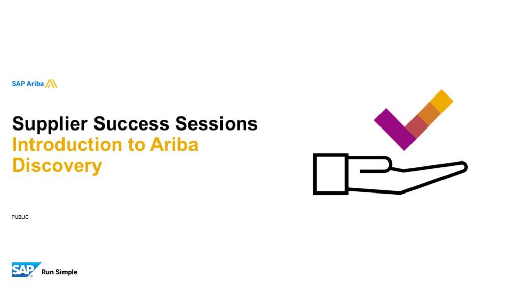 *SAP Ariba: Introduction to Ariba Discovery 27/11/2019*