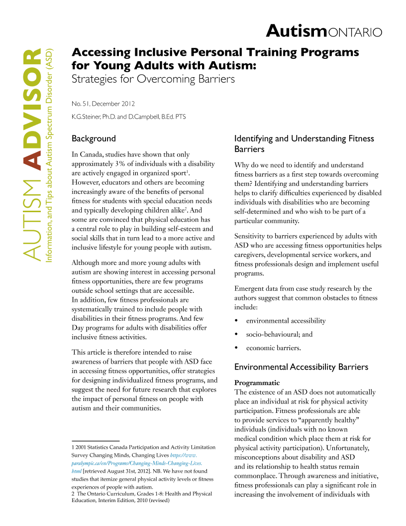 Accessing Inclusive Personal Training Programs