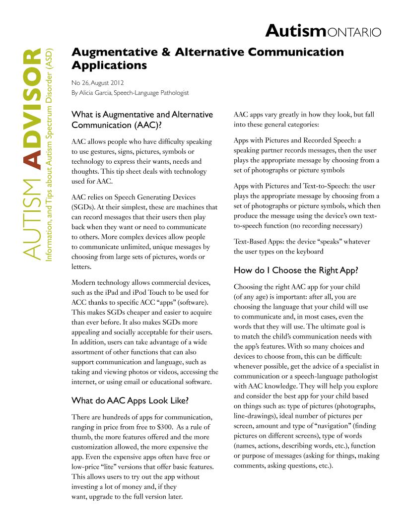 Augmentative and Alternative Communication Apps