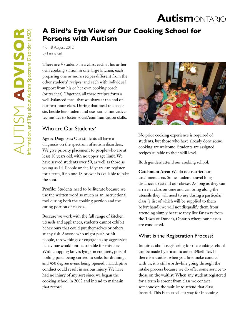 Autism Cooking School
