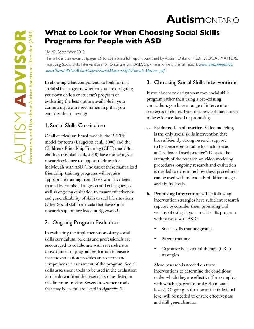Choosing Social Skills Programs