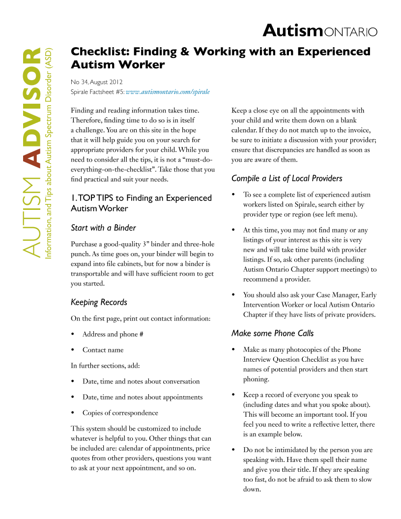 Finding an Experienced Autism Worker
