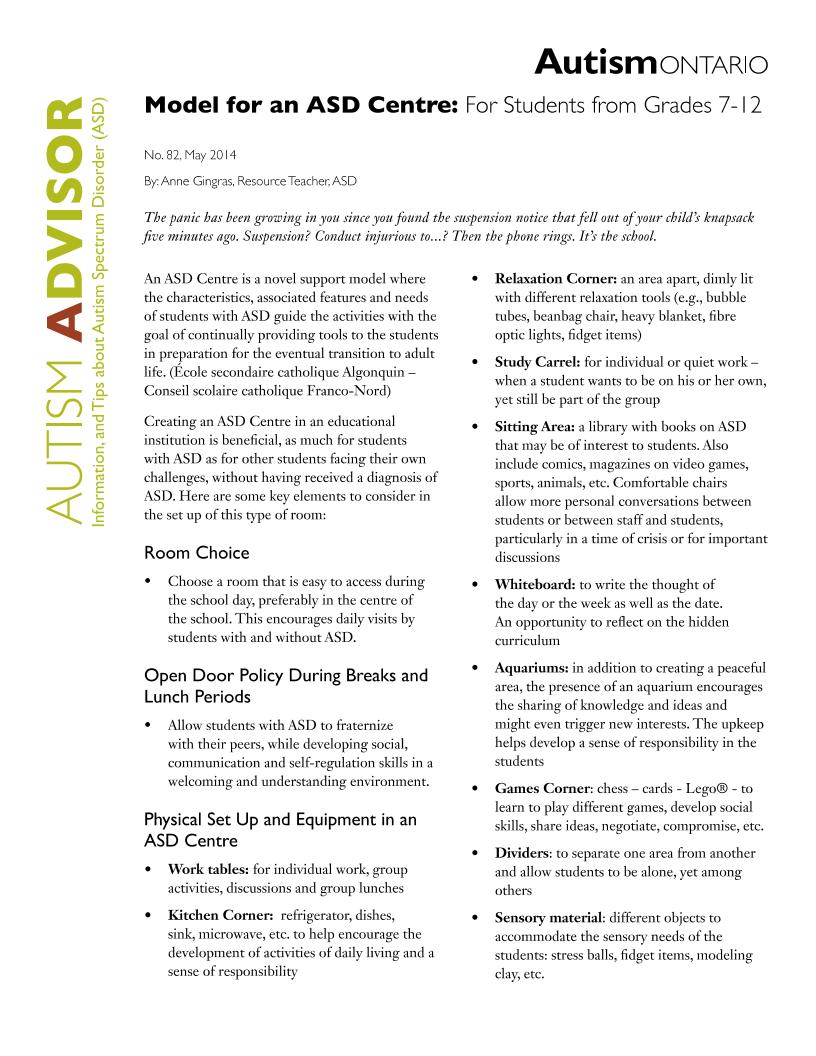 Model for an ASD Centre