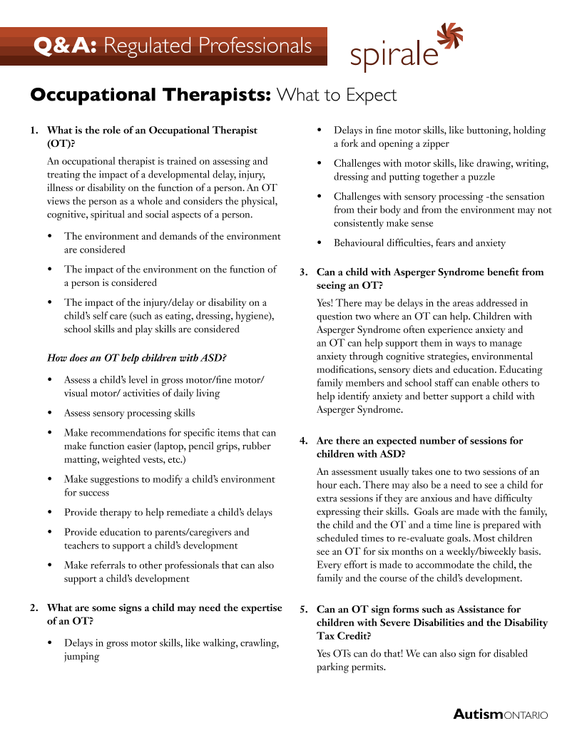 Occupational Therapist - What to Expect