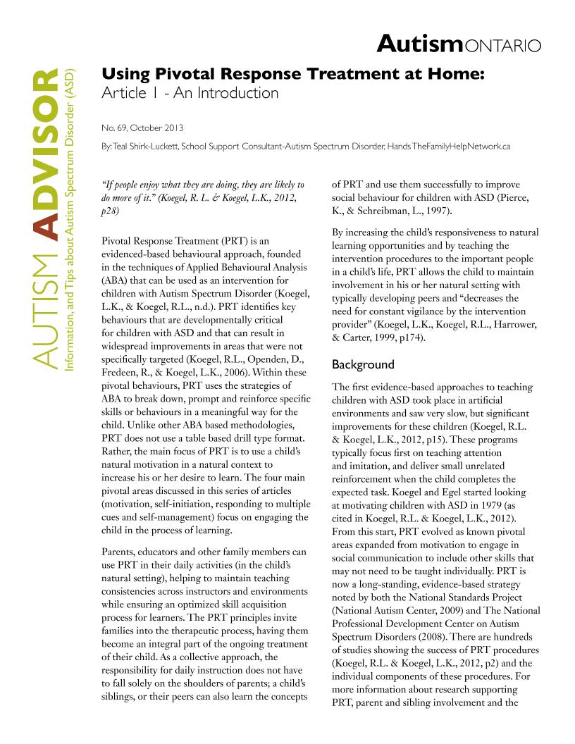 Pivotal Response Treatment 1 - Introduction