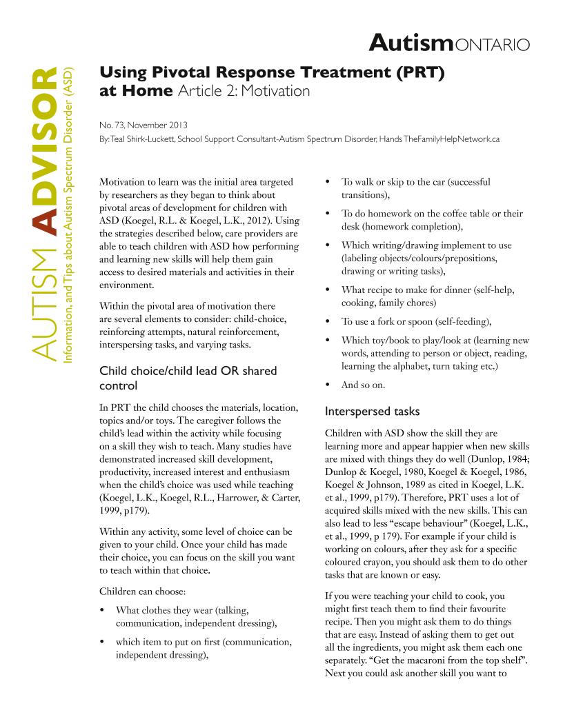 Pivotal Response Treatment 2 - Motivation