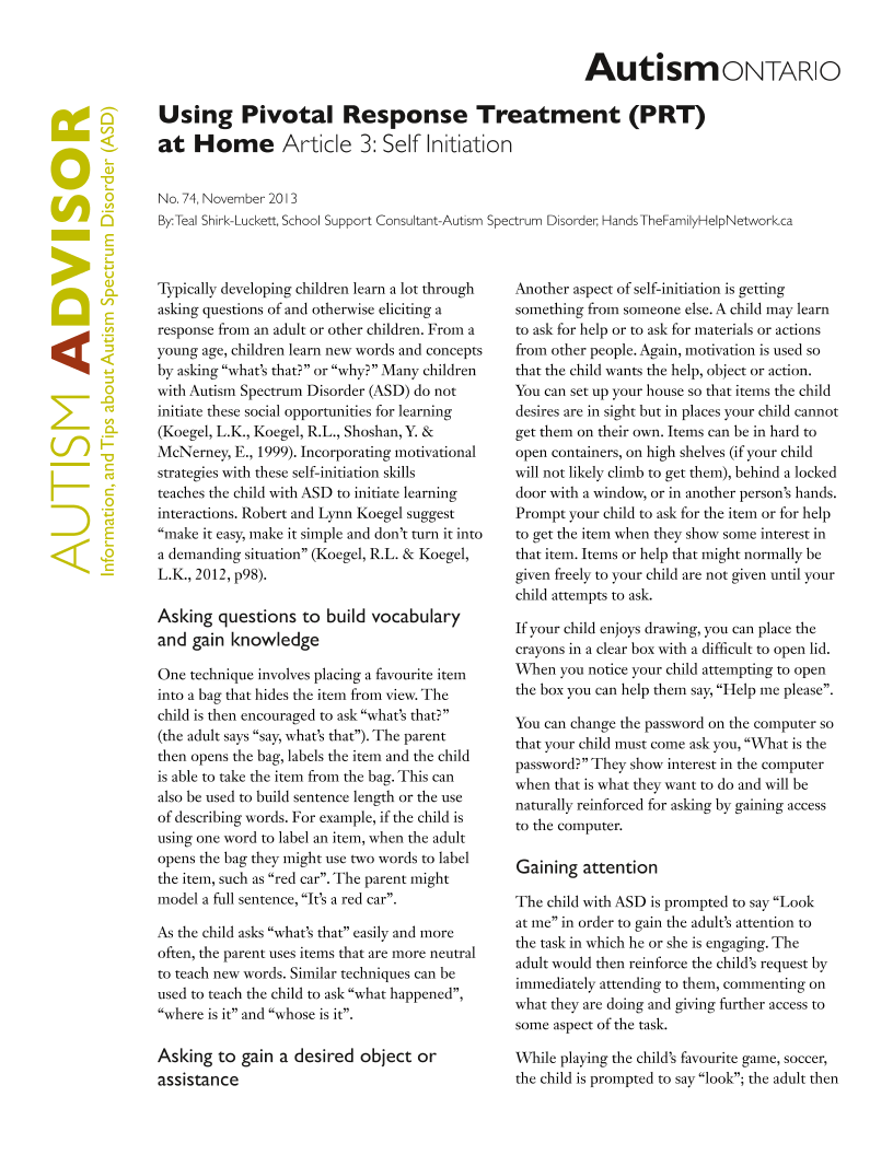 Pivotal Response Treatment 3 - Self Initiation