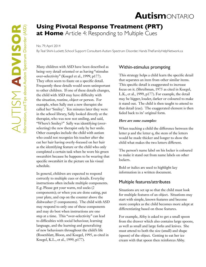 Pivotal Response Treatment 4 - Multiple Cues