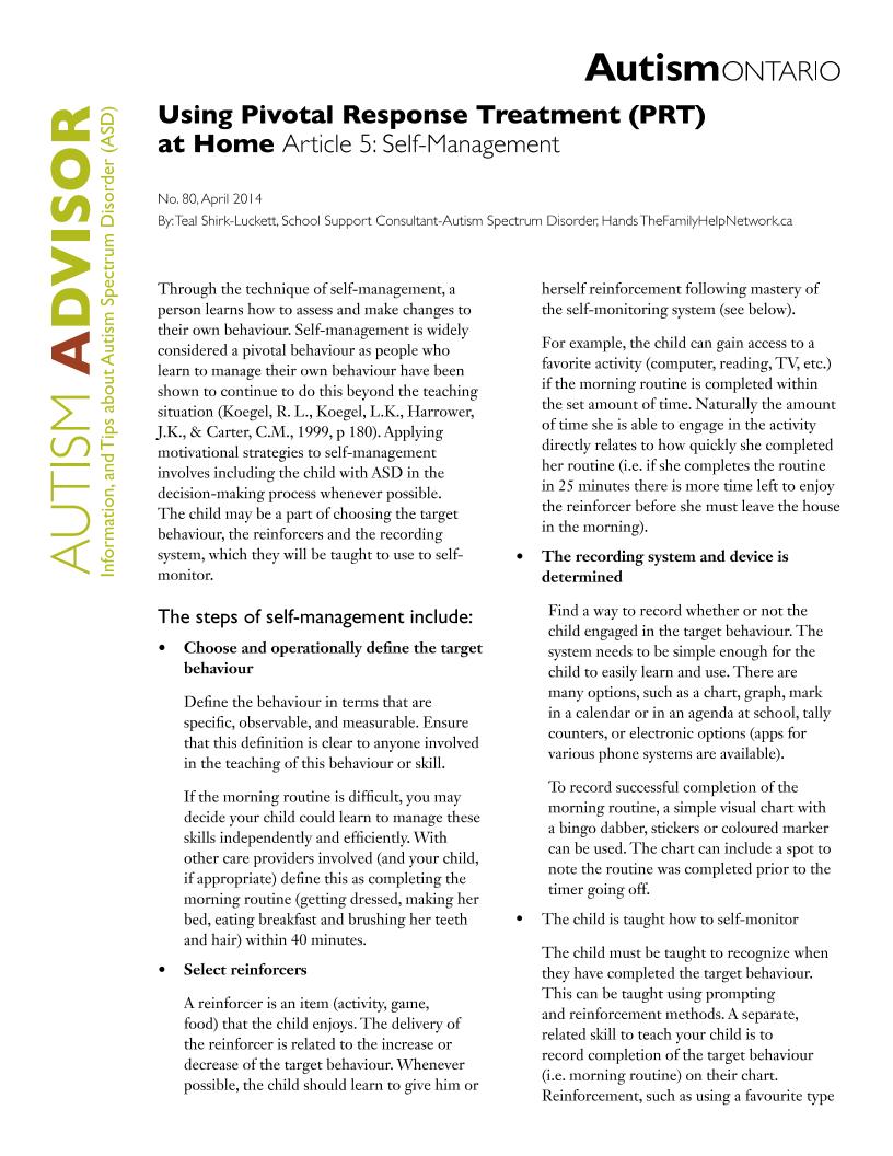 Pivotal Response Treatment 5 - Self-Management