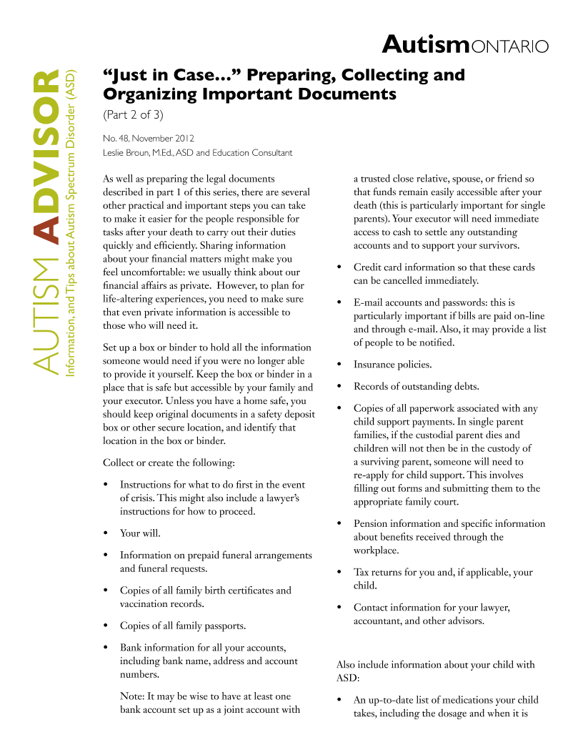 Planning for the Future 2 - Important Documents