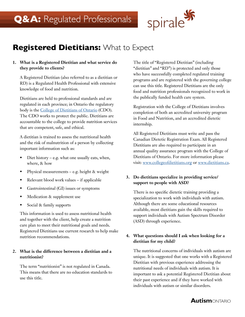 Registered Dieticians - What to Expect