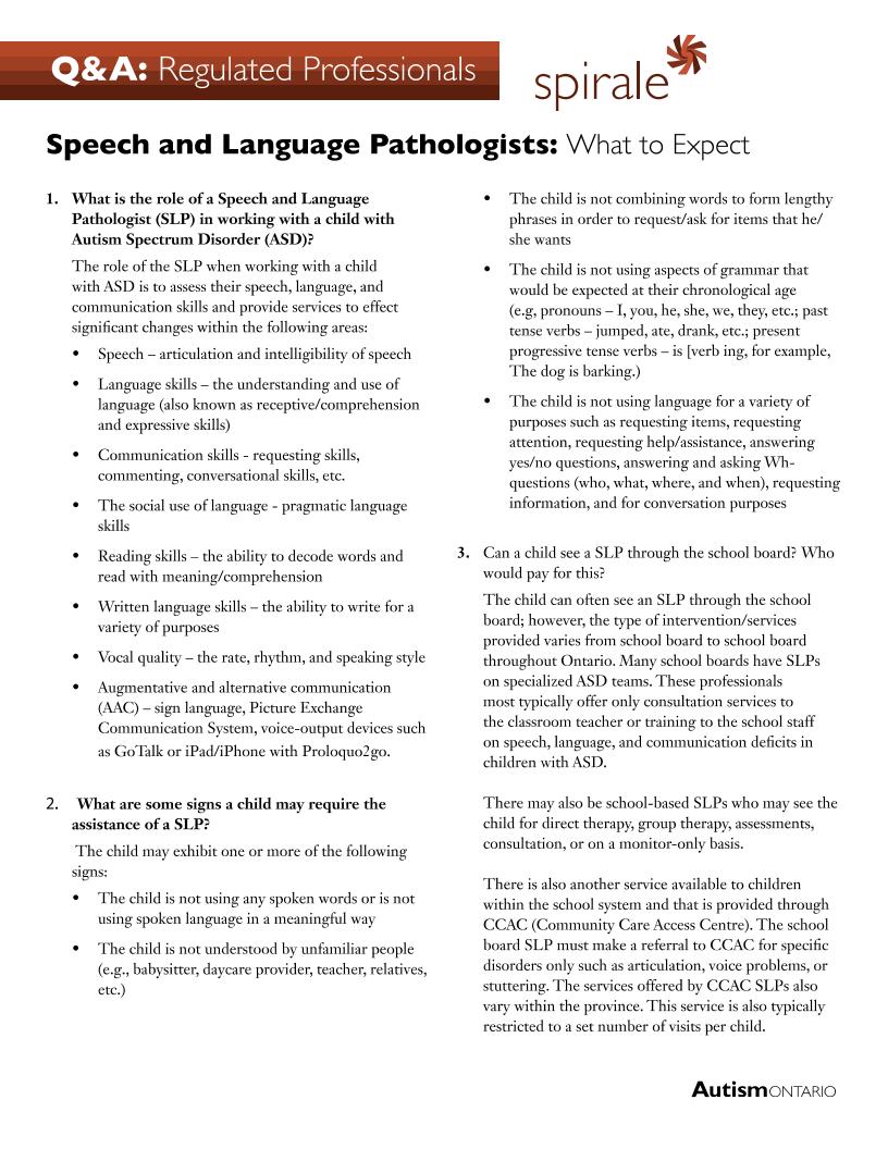 Speech Language Pathologists - What to Expect