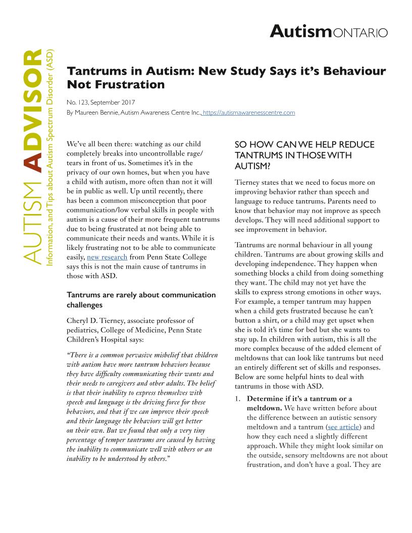 Tantrums in Autism