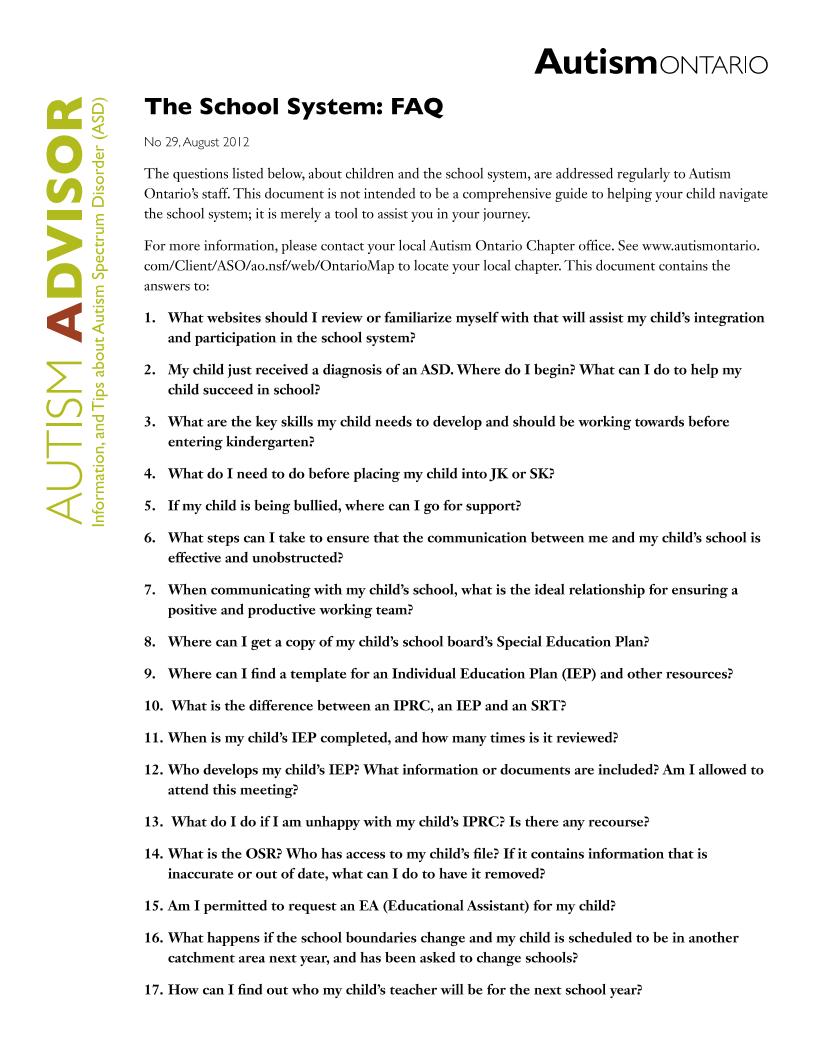 The School System FAQ