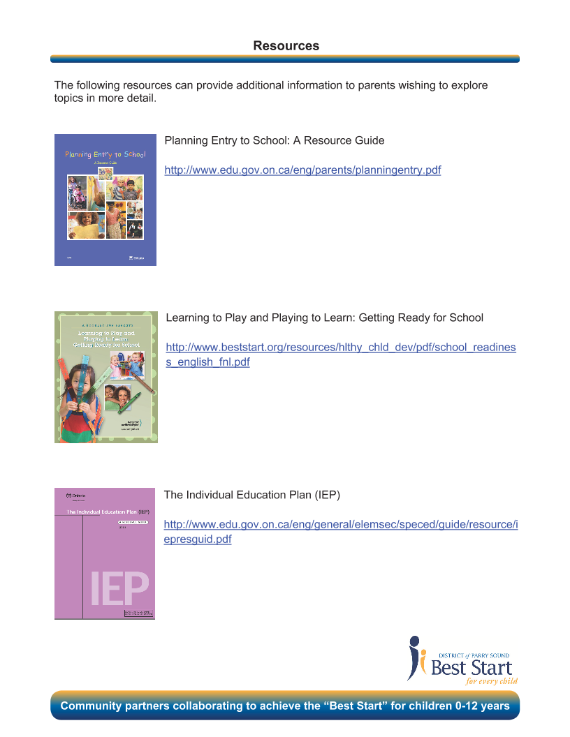Transitioning to School - Resources