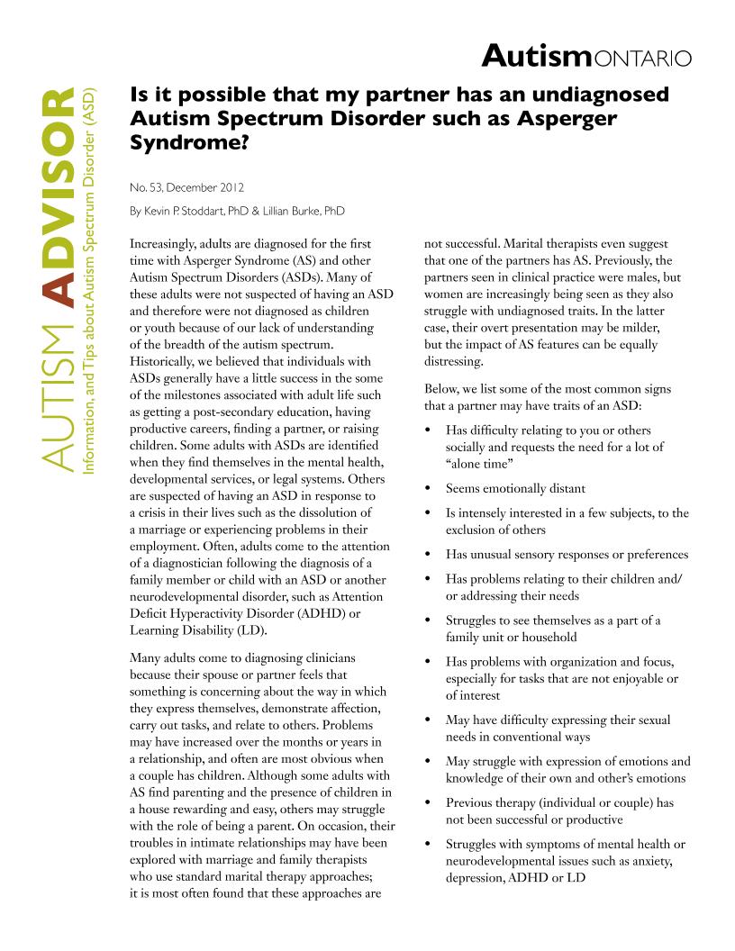 Undiagnosed ASD