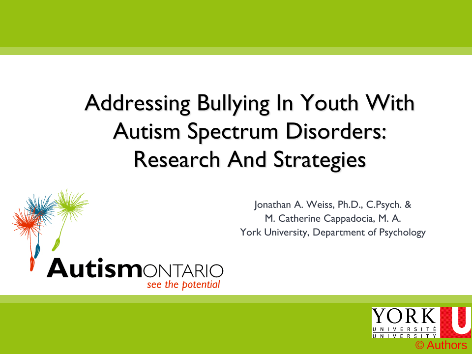 Addressing Bullying in Youth with ASD - Slides