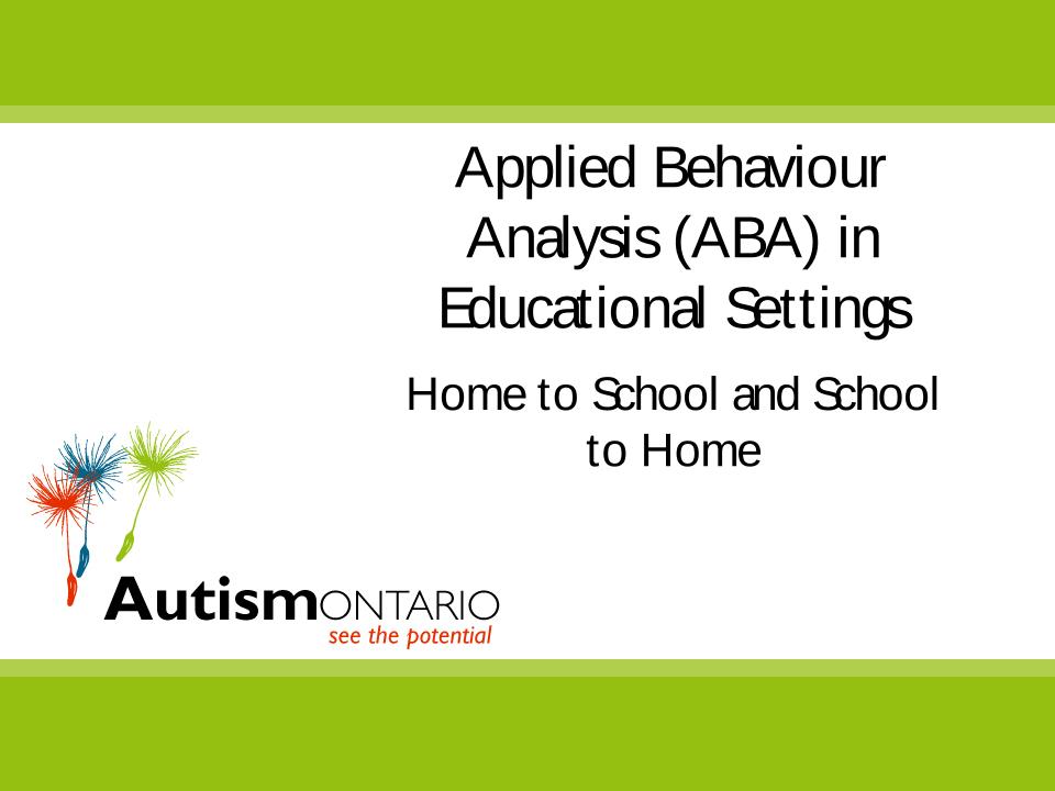ABA in Educational Settings - Slides