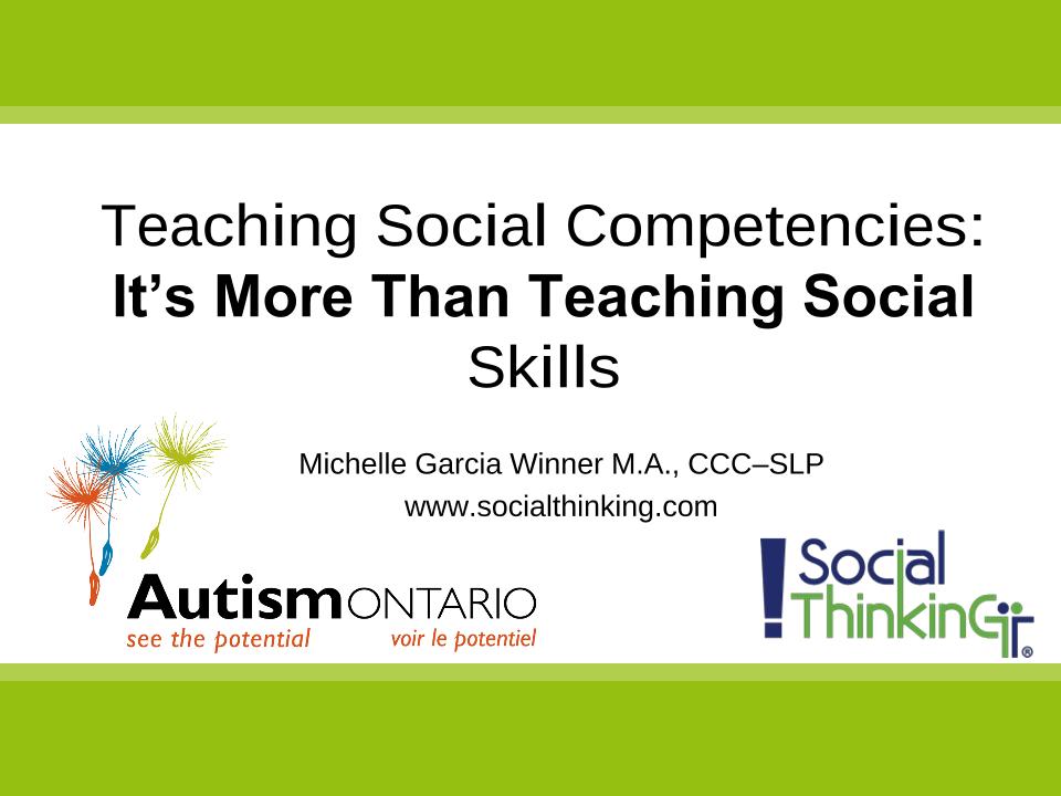 Social Thinking Teaching Social Competency- Slides