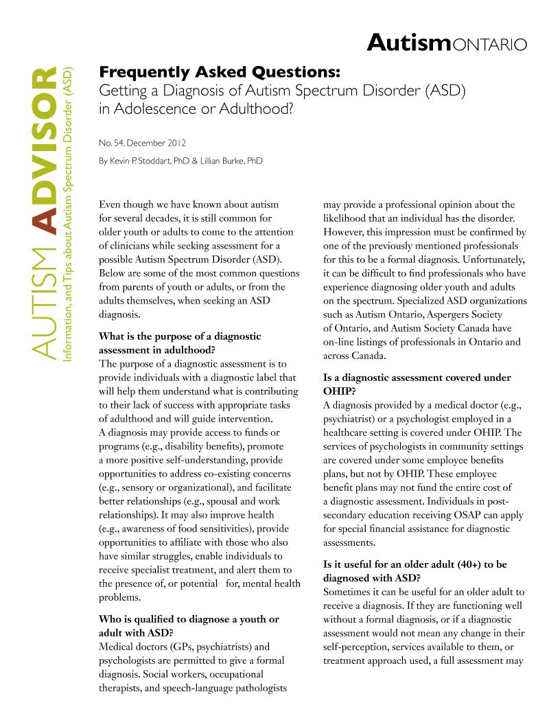 Getting a Diagnosis of ASD