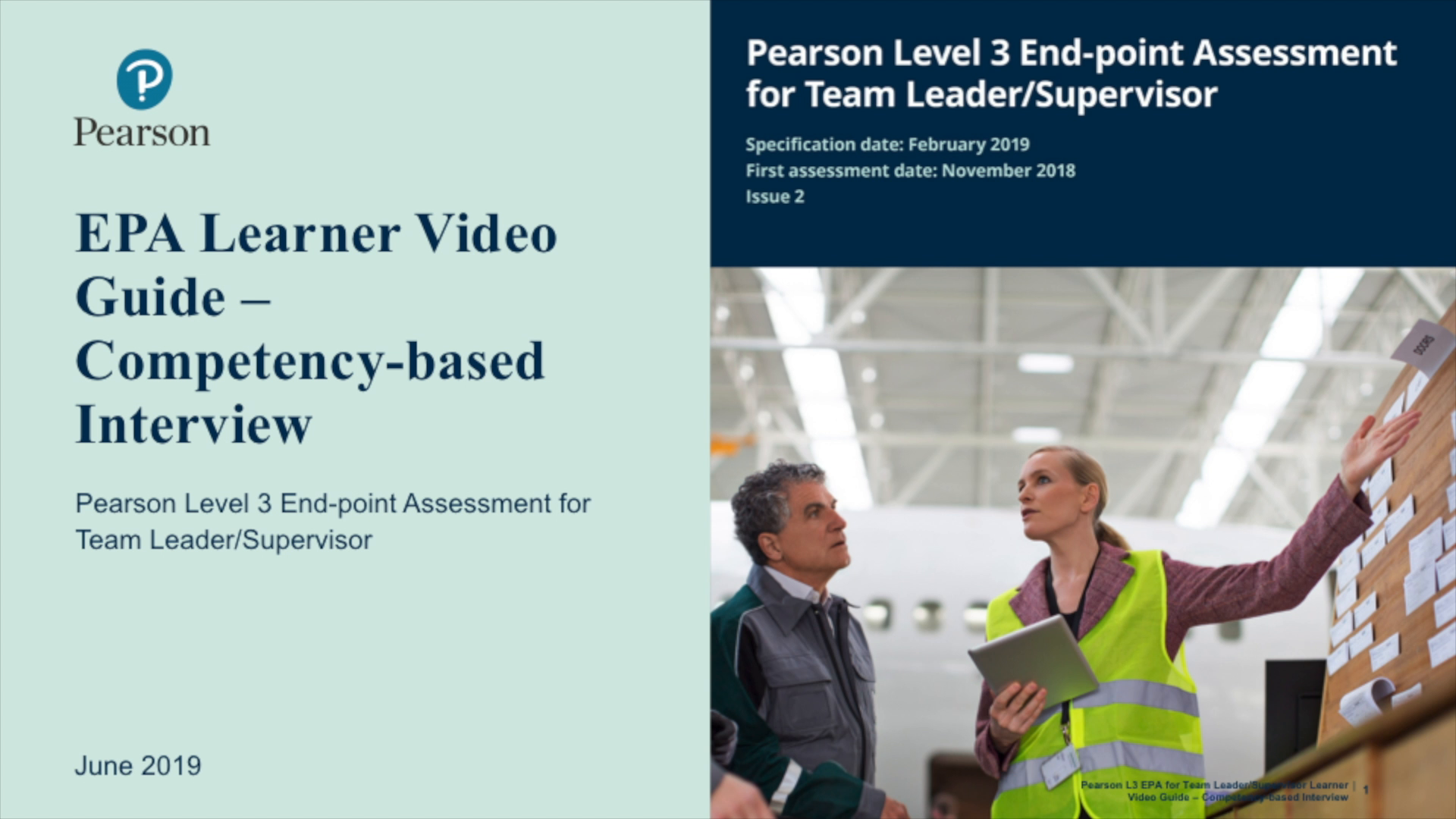 Pearson EPA Learner Video Guide: Team Leader -Competency-based Interview